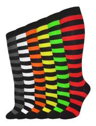 Julietta Knee-High Socks - Assorted Color/Black Stripes (SR416) - 1 Dozen