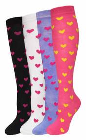 Julietta Knee-High Socks - Hearts (SR431) - 1 Dozen