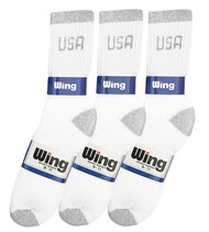 Wing Crew Sport Socks - White/Grey USA Logo (Size: 9-11) - 1 dozen