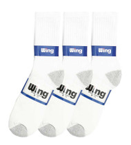 Wing Crew Sport Socks - White/Grey Heel & Toe (Size: 9-11) - 1 dozen