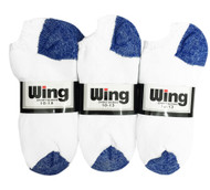 Wing Sports Low-Cut Socks - White/Royal Blue (Size: 10-13) - 1 dozen