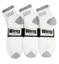 Wing Sports Ankle Socks - White/Grey USA Logo (Size: 10-13) - 1 dozen