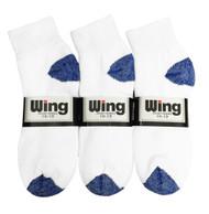 Wing Sports Ankle Socks - White/Royal Blue (Size: 10-13) - 1 dozen