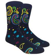 FineFit Novelty Socks - Navy Paisley (NV056A) - 1 Dozen