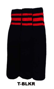 Dreamfield Tube Socks - Black/Red (Size: 10-13, 10-15) - 1 dozen