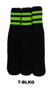 Dreamfield Tube Socks - Black/Lime (Size: 10-13, 10-15) - 1 dozen