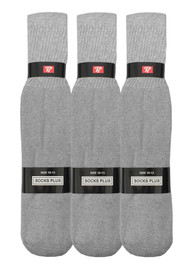 Socks Plus Tube Socks - Grey (Size: 10-13, 10-15) - 1 Dozen