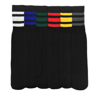 Credos Tube Socks - Black/Assorted Color (Size: 10-13) - 1 Dozen