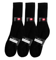 Socks Plus Crew Socks - Black (Size: 10-13) - 1 Dozen