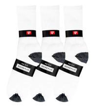 Socks Plus Crew Socks - White/Black H&T (Size: 10-13) - 1 Dozen