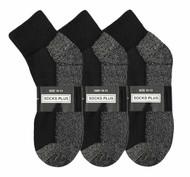 Socks Plus Ankle Socks - Black/Grey Bottom (Size: 10-13) - 1 Dozen