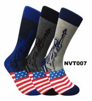 FineFit Novelty Socks 3 Pair Bundle - Lady Liberty (NVT007) - 1 Dozen