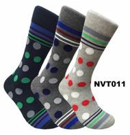 FineFit Novelty Socks 3 Pair Bundle -  Polka Dots (NVT011) - 1 Dozen