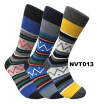 FineFit Novelty Socks 3 Pair Bundle - Zig-Zag (NVT013) - 1 Dozen