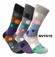 FineFit Novelty Socks 3 Pair Bundle - Polka-Stripe (NVT015) - 1 Dozen