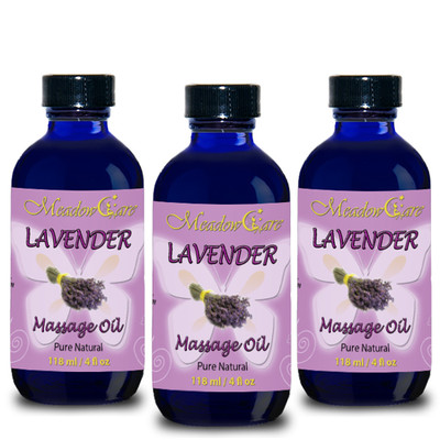 MeadowCare Lavender Massage Oil 4oz 3-Pack