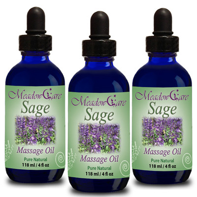 MeadowCare SAGE Massage Oil 4oz 3-Pack