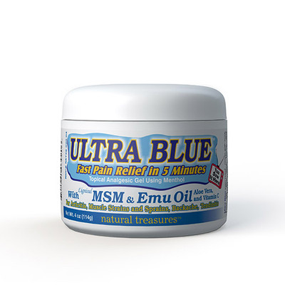 Ultra Blue Topical Analgesic Gel Pain Reliever with MSM and Emu Oil 4 oz (114 g)