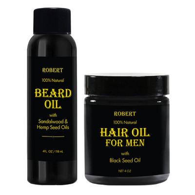 Robert 100% Natural Beard Oil and Hair Oil for Men 4oz Combo