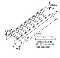 """0020033430 Cable Rack 2""""x10""""W Solid Side"""