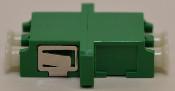 LC/APC Duplex Green Singlemode Coupler with flange