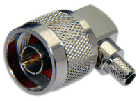 Type N Male Right Angle Connector For RG58/RG142/RG223/RG400/LMR195/LOW195 cables - Crimp Connector with Captivated Pin