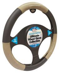 Genuine Leather Steering Wheel Cover Black & Beige - 37 > 38 cm Dia