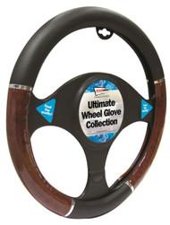 Wood Effect Steering Wheel Cover - 37 > 38 cm Dia