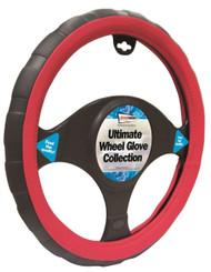 Steering Wheel Cover Red & Black - 37 > 38 cm Dia