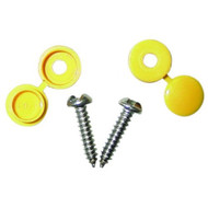 Number Plate Screws with Yellow Caps