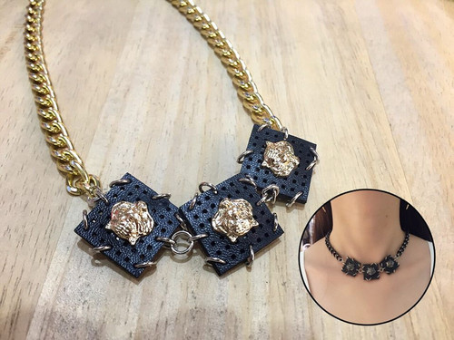 Chained Square Pendant Necklace