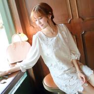 Openwork Lace Stitching Chiffon Dress