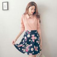 Polka Dot Flower Pleated Shirt  Dress