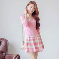 Stripe Pleated Knit Dress