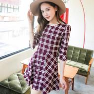 Plaid Round Neck Dress