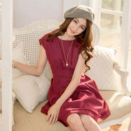 Bow Pleated Sleeveless Woolen Dress