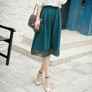 Lace Stitching Mid Length Skirt