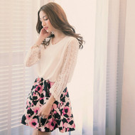 Lace Sleeve Flower Print Dress