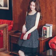 Sleeveless Lace-Trim Plaid Dress