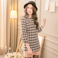 Plaid Tweed Long-Sleeve Shirt