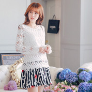 Lace Stitching Flower Print Dress