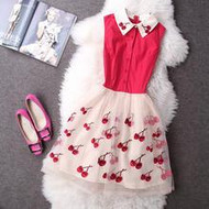 Cherry Print Collared Dress