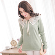 Lace Collar Woolen Top