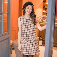 Plaid Pearl Sleeveless Dress