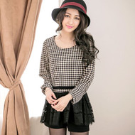 Sweet Lace Stitching Plaid Top