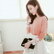 Hollow Lace Pleated Top