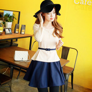 Belted Fake Two Pieces Dress