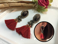 Black Stone Tassel Drop Earrings