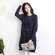 Round Neck Slim Fit Twist Texture Long Sweater