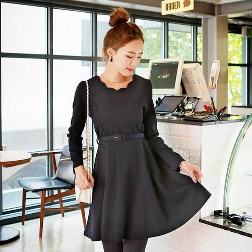 Adjustable Waistband Petal Collar Dress